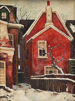 Artwork by John Kasyn, Yard with Apple Tree, D'Arcy Street, Toronto