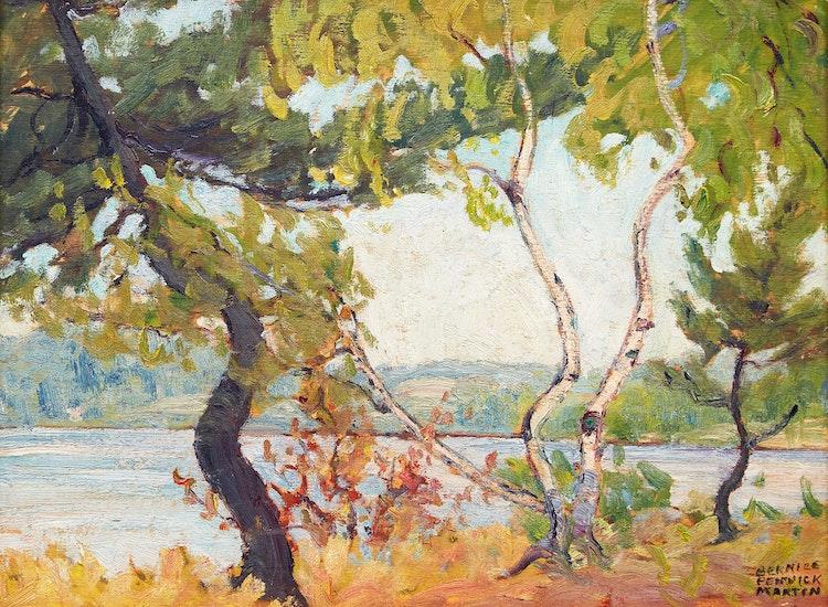 Artwork by Bernice Fenwick Martin,  Lake with Screen of Birch Trees, circa 1929-30
