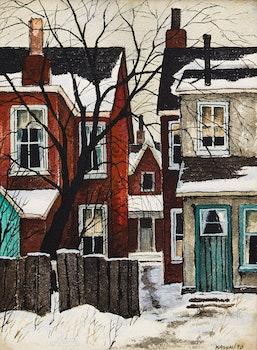 Artwork by John Kasyn, Backyard on Carlaw Ave.