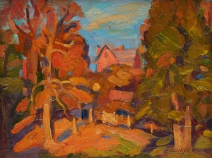 Artwork by Dewitt Drake, Old Trees and House on a Hill