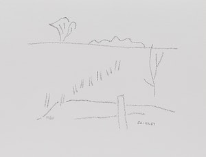 Artwork by Barker Fairley, Two Works: Trees and Line of a Fence Post, c. 1980 and House and Barn, c. 1980