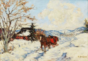 Artwork by Berthe Des Clayes, Sleigh Scene, Winter