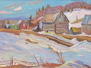 Artwork by Ralph Wallace Burton, Old Barns Near Sainte-Cécile-de-Masham, Québec