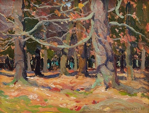 Artwork by John William Beatty, Woods in Autumn