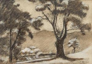 Artwork by Henri Beau, Paysage avec des arbres