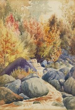 Artwork by Frederick Henry Brigden, Forest Stream