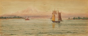 Artwork by Thomas Mower Martin, Mount Baker and the Cascade Range from Near Victoria - Oak Bay - British Columbia