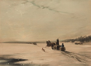 Artwork by Coke Smyth , Posting on the St. Lawrence During Winter