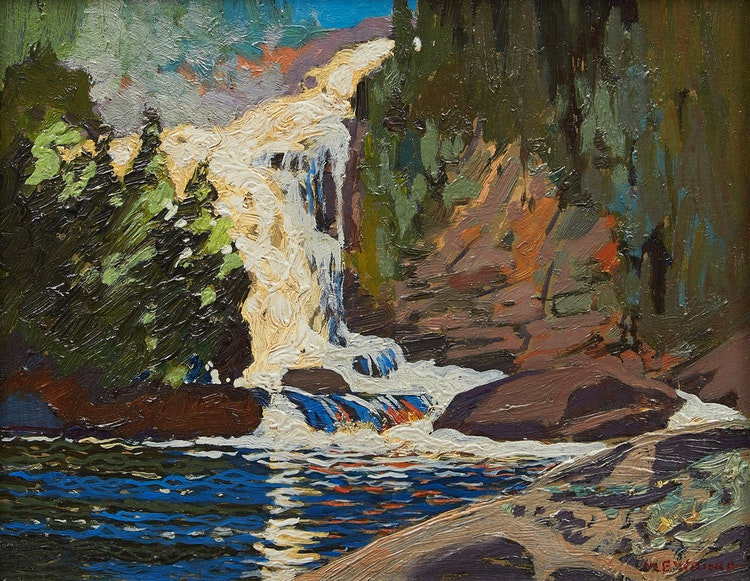 Artwork by Mary Evelyn Wrinch,  Waterfall, Montreal River