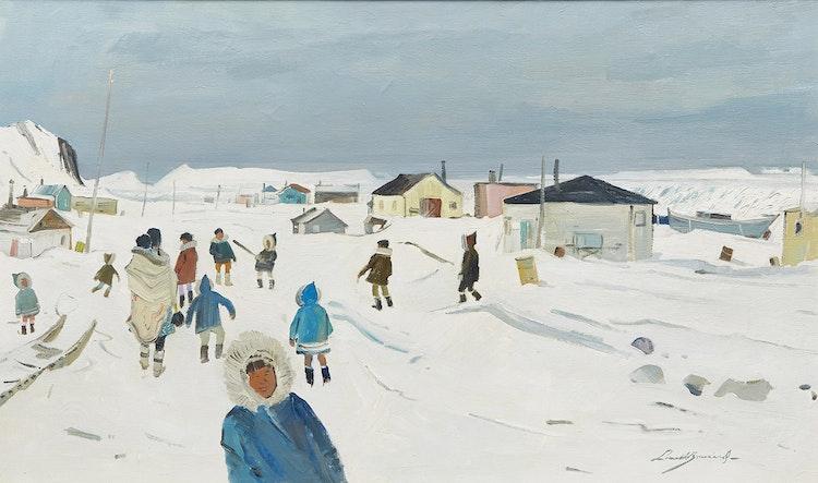Artwork by George Lorne Holland Bouchard,  Ikaluit Village, Baffin Island, 1969
