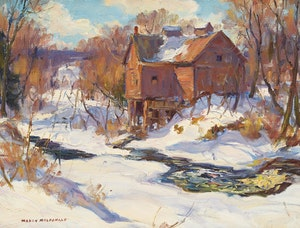 Artwork by Manly Edward MacDonald, Winter Mill Landscape