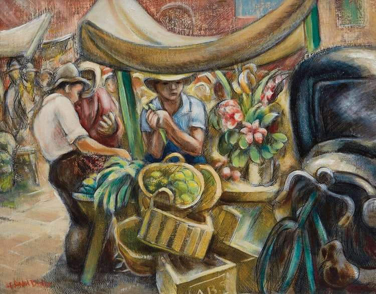 Artwork by André Charles Biéler,  The Market Stall