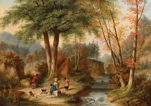 Artwork by Cornelius Krieghoff, Indian Encampment By A River, Autumn