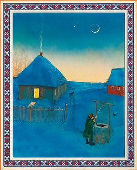 Artwork by William Kurelek, Pioneer Homestead on a Winter's Evening