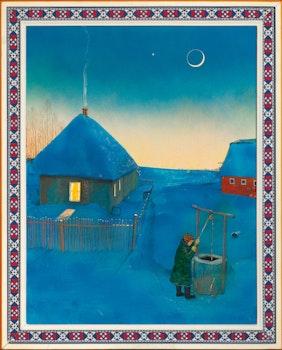 Artwork by William Kurelek, Pioneer Homestead on a Winter's Evening