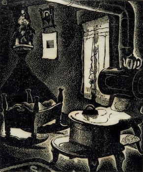 Artwork by Edwin Headley Holgate, Labrador Kitchen No. 1