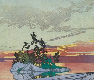 Artwork by Walter Joseph Phillips, Sunset, Lake of the Woods