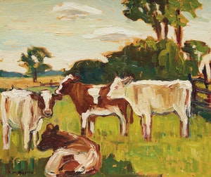 Artwork by Kathleen Moir Morris, Grazing Cattle