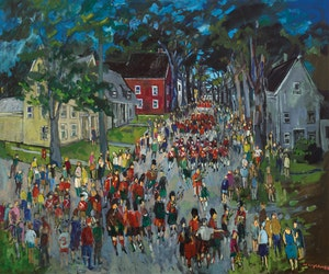 Artwork by Molly Lamb Bobak, Highland Games, Fredericton