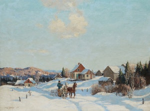 Artwork by Frederick Simpson Coburn, Horse-Drawn Sleigh, Winter