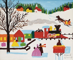 Artwork by Maud Lewis, Train through Town