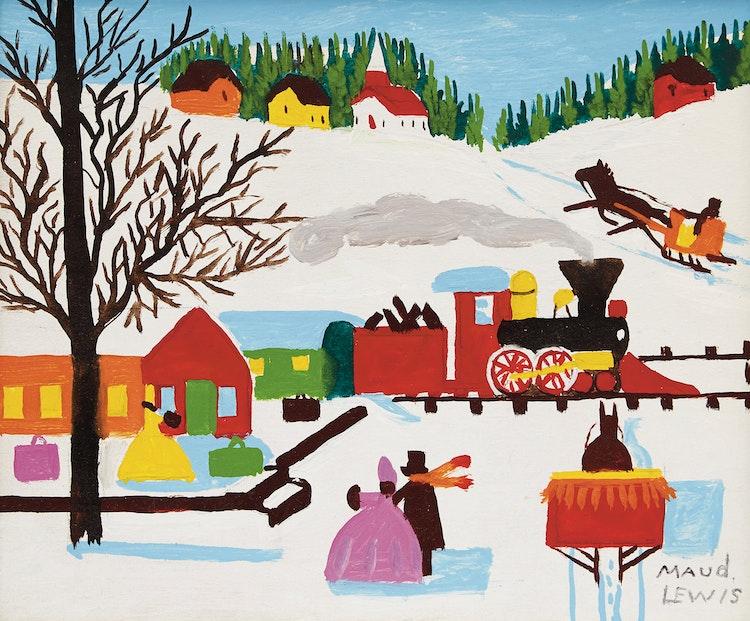 Artwork by Maud Lewis,  Train through Town