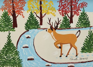 Artwork by Maud Lewis, Deer by a Stream, Winter