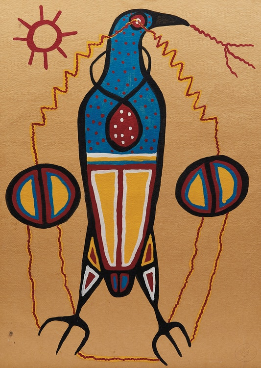 Artwork by Norval Morrisseau,  Thunderbird at Rest