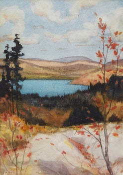 Artwork by George Agnew Reid, Landscape with Lake