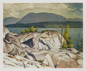 Artwork by Alfred Joseph Casson, Birch Island; Summer Storm; Grey October Morning
