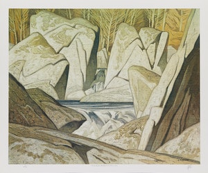 Artwork by Alfred Joseph Casson, Rock Cluster Madawaska River, 1963; On the York River; Pink Farm House