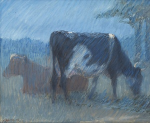 Artwork by Harry Spiers, Cows in Pasture