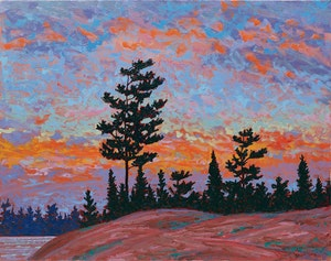 Artwork by Philip Sybal, Killarney Pines at Sunset