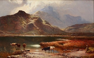 Artwork by Sidney Richard Percy, Cattle Watering, Scottish Highlands