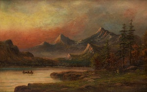 Artwork by Octavius White, Canoeing in the Mountains