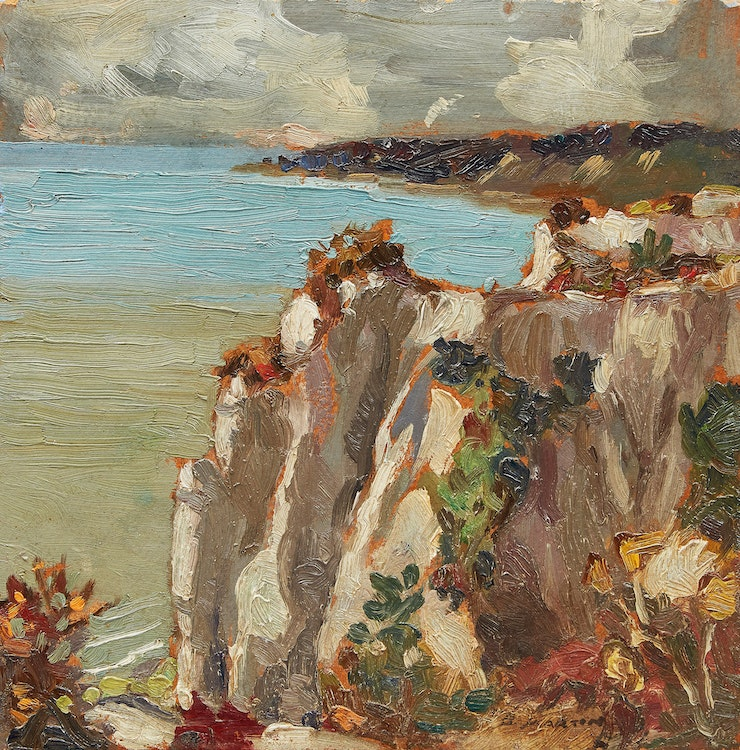 Artwork by Bernice Fenwick Martin,  Bluffs on a Cloudy Day
