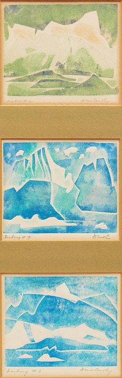Artwork by Doris Jean McCarthy,  Arctic #2; Iceberg #4; Iceberg #6