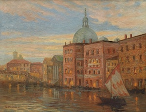 Artwork by Narcisse Poirier, Evening on the River