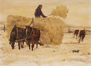 Artwork by Allen Sapp, Bringing in the Hay
