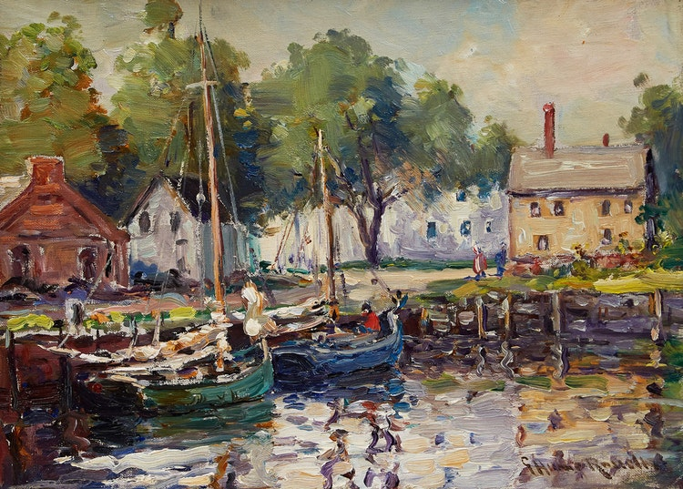 Artwork by George Horne Russell,  Boats Docked at the Harbour