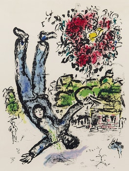 Artwork by Marc Chagall, Le Bouquet de l'artiste, 1964 [Mourlot, 410]