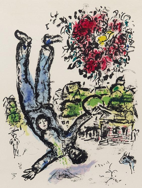 Artwork by Marc Chagall,  Le Bouquet de l'artiste, 1964 [Mourlot, 410]