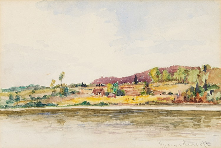Artwork by George Horne Russell,  Cottage by the River
