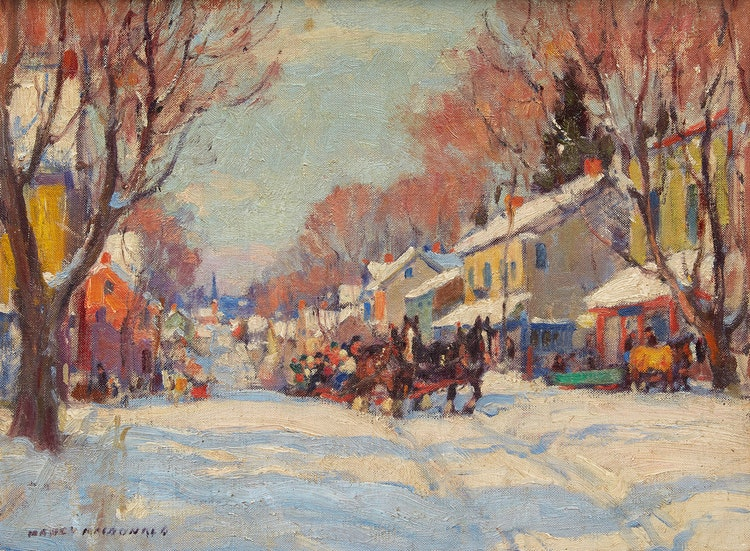 Artwork by Manly Edward MacDonald,  Sleigh Ride Through Town