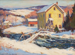 Artwork by Manly Edward MacDonald, Farm in the Winter Valley