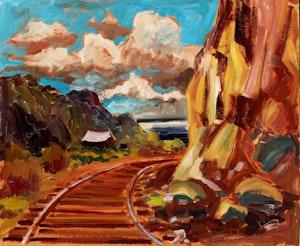 Artwork by Bruno Côté, Mountainside Train Tracks