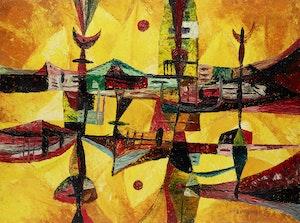 Artwork by William John Bertram Newcombe, Sun Theme