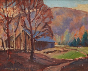 Artwork by Frank Denton, Entrance to Minden Golf Club, Haliburton County, View from the Highway, October 1940