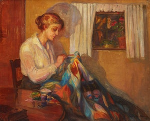Artwork by Estelle Muriel Kerr, The Patchwork Quilt