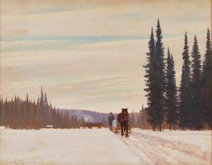 Artwork by Frank Hans Johnston, Hauling Ice - Near Nipigon